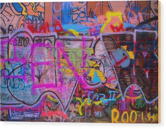 A Colourful Wall. Wood Print