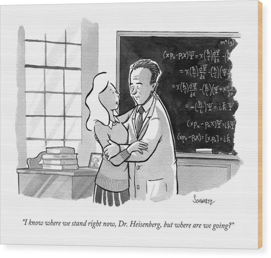 A Concerned Woman Embraces Dr. Heisenberg Wood Print
