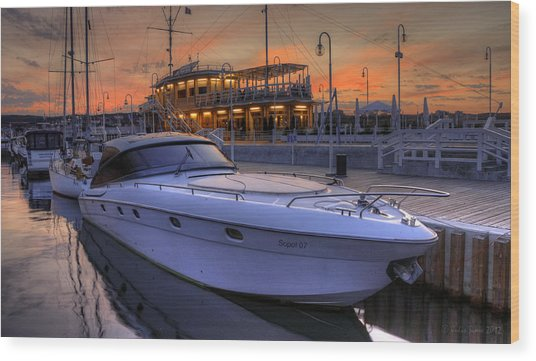 A Cool Motorboat Yacht In Sopot Marina Wood Print