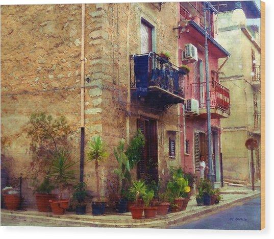 A Corner In Sicily Wood Print