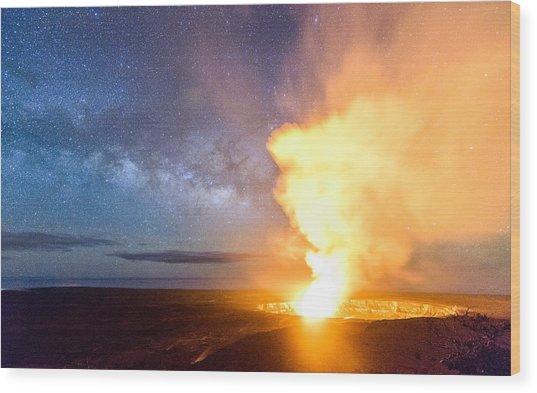 A Cosmic Fire Wood Print