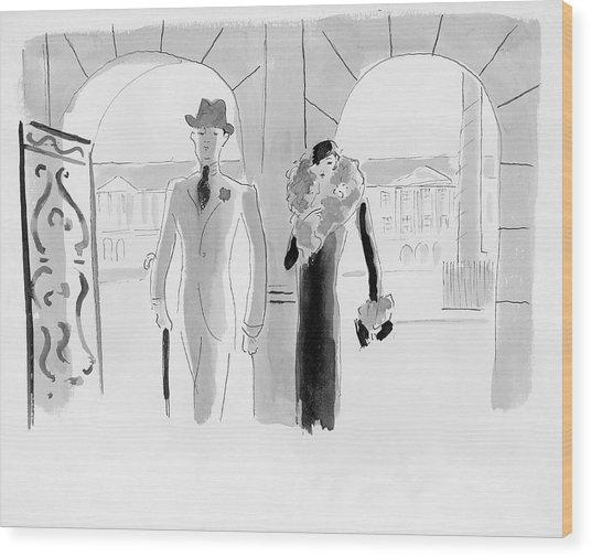 A Couple At The Ritz Hotel Wood Print by Oberle
