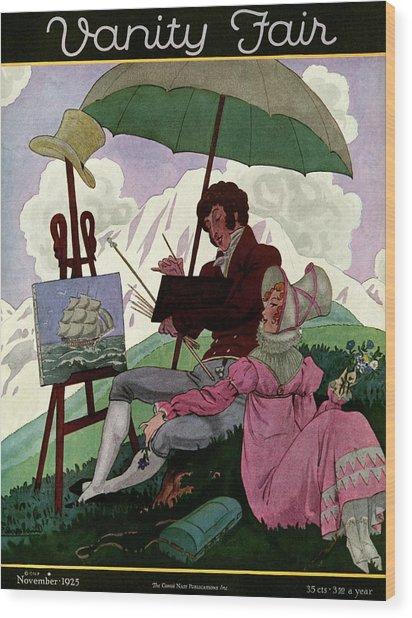 A Couple In Period Dress Wood Print by Pierre Brissaud