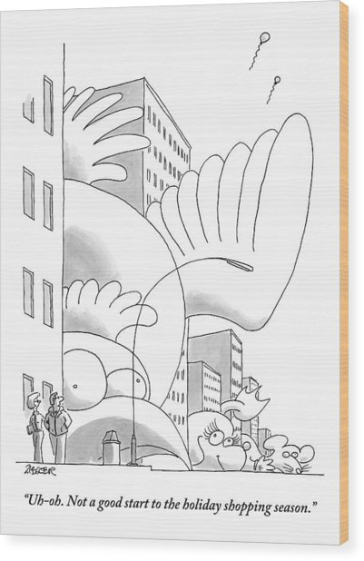 A Couple Stands On A City Street Where Holiday Wood Print