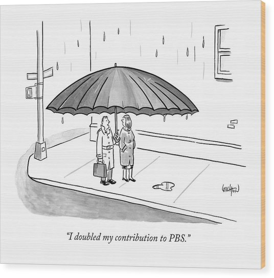 A Couple Under A Gigantic Umbrella On A City Wood Print