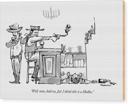 A Cowboy In A Saloon Has Just Shot The Bartender Wood Print