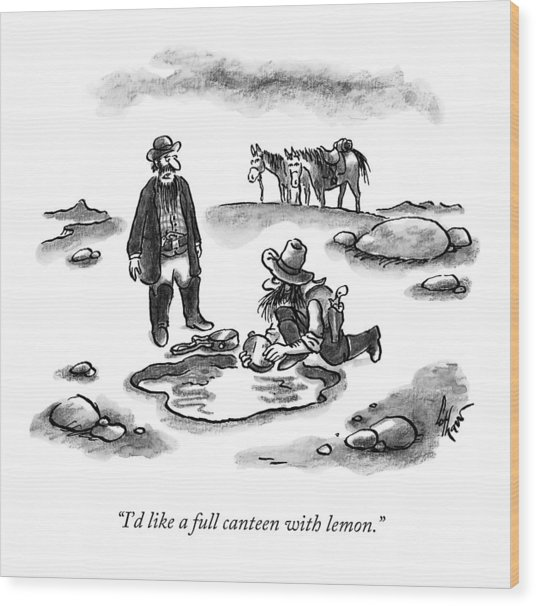 A Cowboy Speaks To Another Wood Print