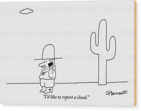 A Cowboy Talks On A Cell Phone In A Desert Wood Print