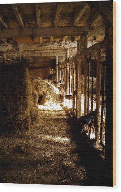A Cozy Barn Wood Print