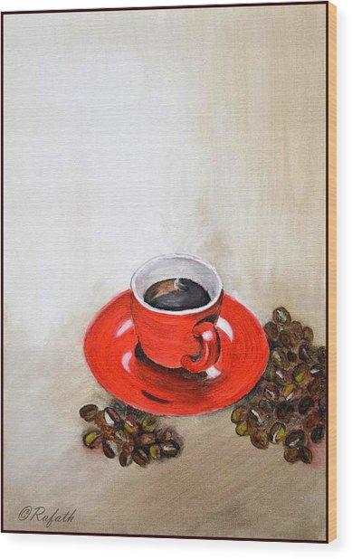 A Cup Of Coffee Wood Print by Rafath Khan