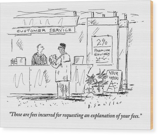 A Customer Service Representative Speaks To A Man Wood Print