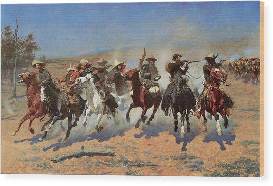 A Dash For The Timbers Wood Print by Frederic Remington