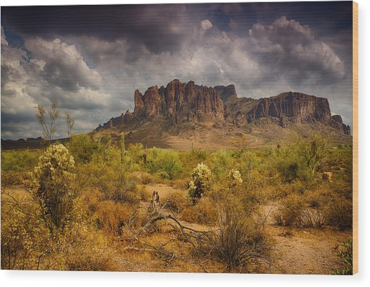 A Day At The Superstitions  Wood Print