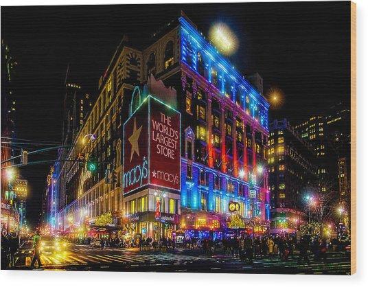 A December Evening At Macy's  Wood Print
