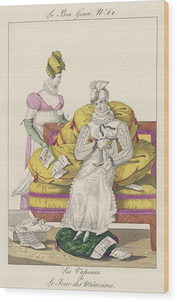 A Dejected Lady Seeks Comfort Wood Print by Mary Evans Picture Library