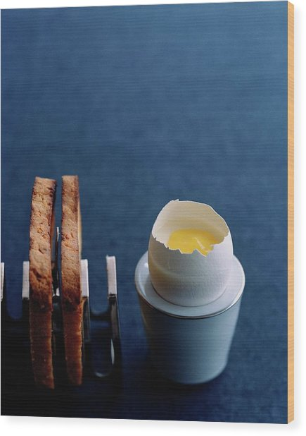 A Dessert Made To Look Like An Egg And Toast Wood Print