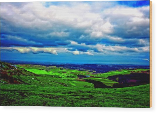 A Digitally Constructed Painting Of The Yorkshire Moors Wood Print