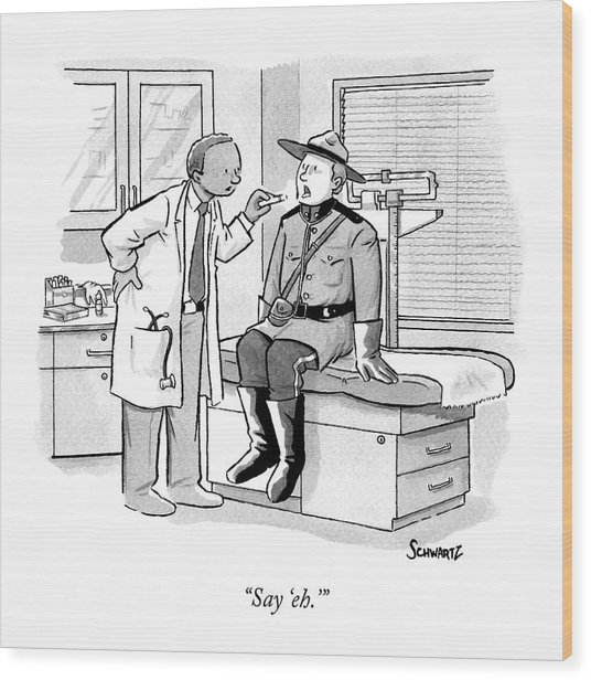 A Doctor Inspects A Royal Canadian Mounted Wood Print