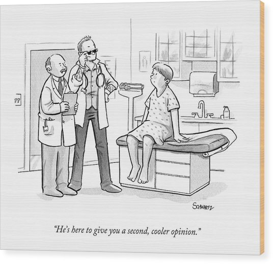 A Doctor Tells A Patient About A Hip-looking Wood Print