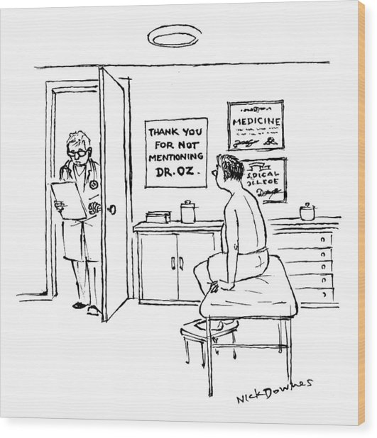 A Doctor Walks Into An Office Where A Patient Wood Print