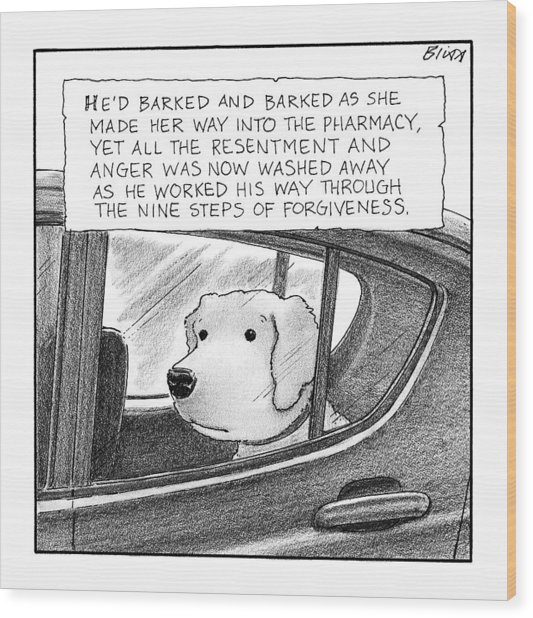 A Dog Looks Out Of A Car Window.  Title: He'd Wood Print