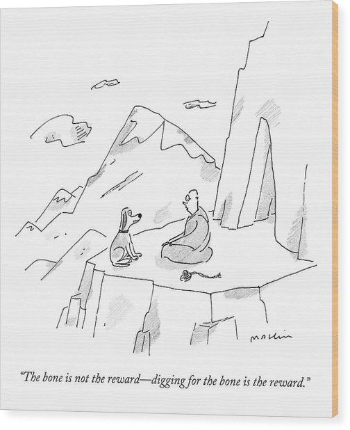 A Dog Speaks To A Guru On Top Of A Mountain Wood Print