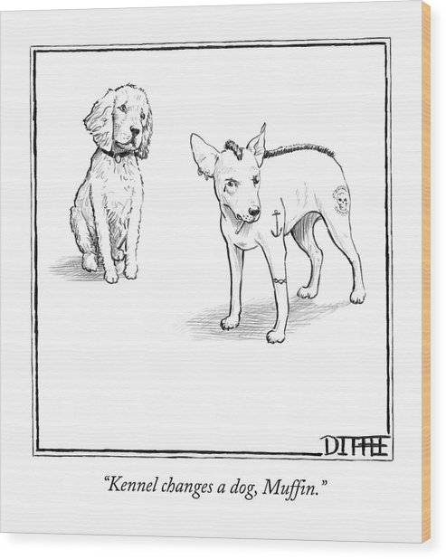 Kennel Changes A Dog Muffin Wood Print