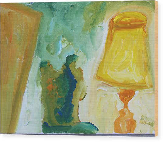 A Door A Chair And A Yellow Lamp Wood Print