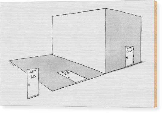 A Door, A Flat Room, And A Three Dimensional Room Wood Print