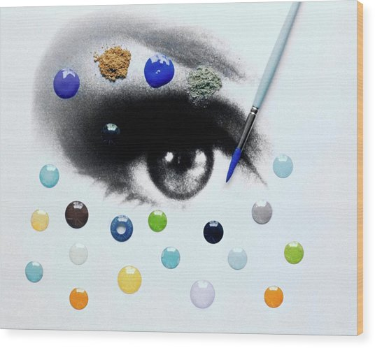 A Drawing Of An Eye With Colorful Contact Lenses Wood Print