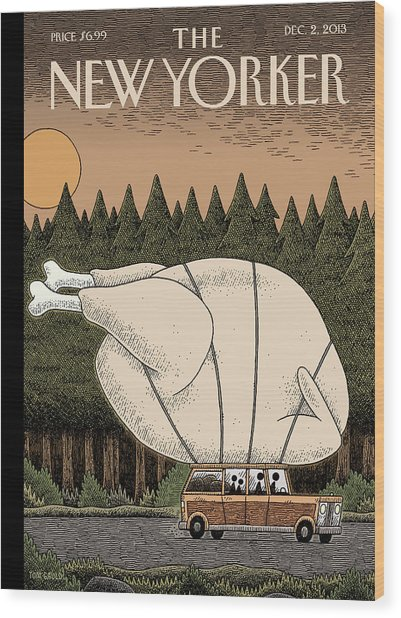 A Family Rides Home With A Giant Turkey Tied Wood Print