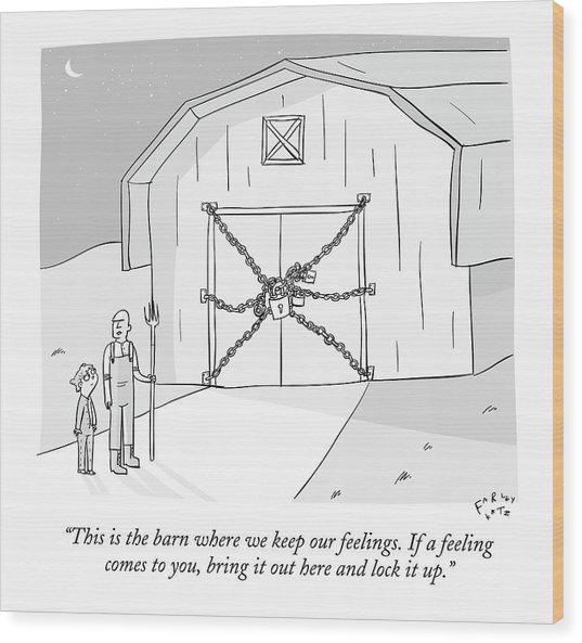 A Farmer Shows His Son A Barn That Is Locked Wood Print