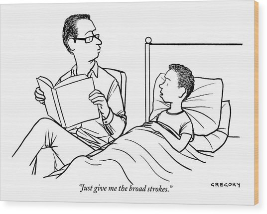 A Father Is Seen Reading A Book To His Son Who Wood Print