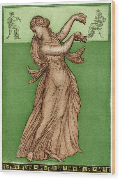 A Female Dancer Performs  Alone Wood Print by Mary Evans Picture Library