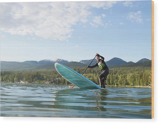 A Fit Female Stand Up Paddle Boards Wood Print