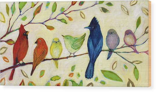 A Flock Of Many Colors Wood Print