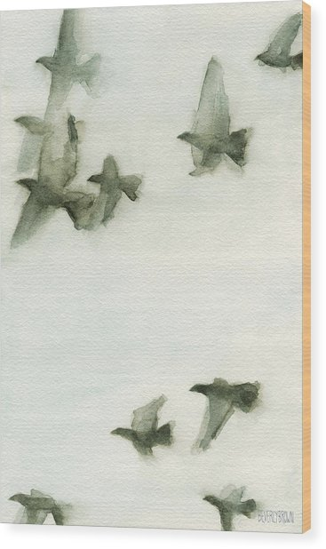 A Flock Of Pigeons 2 Watercolor Painting Of Birds Wood Print