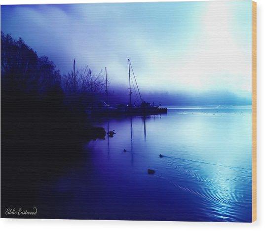 A Foggy Day At Log Boom Park In Kenmore Washington Wood Print