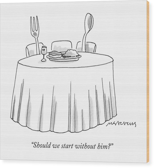 A Fork And A Spoon Sit At A Dinner Table Wood Print