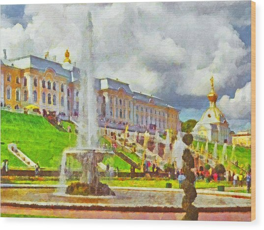 A Fountain At Peterhof Wood Print