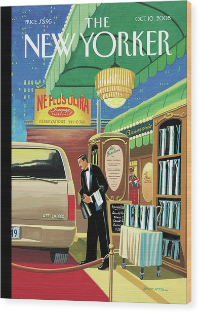 A French Waiter Outside A Brasserie Fills A Suv Wood Print