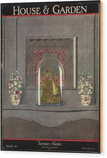 A Gilded Mantle Clock In A Bell Jar Wood Print