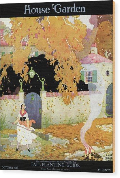 A Girl Sweeping Leaves Wood Print