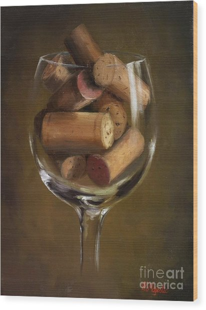 A Glass Of Cork Wood Print