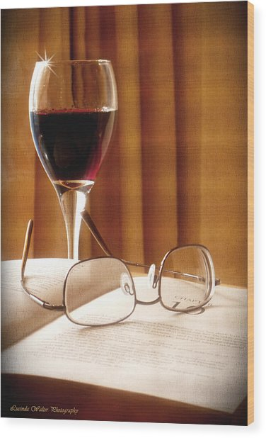 A Good Book And A Glass Of Wine Wood Print