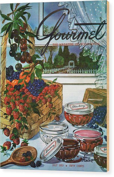 A Gourmet Cover Of A Fruit Basket Wood Print