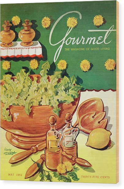 A Gourmet Cover Of Dandelion Salad Wood Print