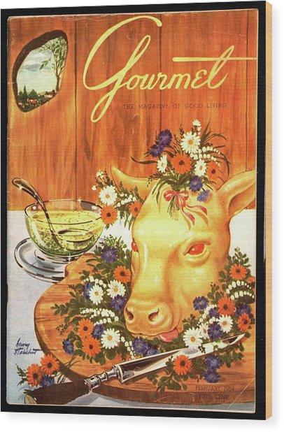 A Gourmet Cover Of Tete De Veau Wood Print