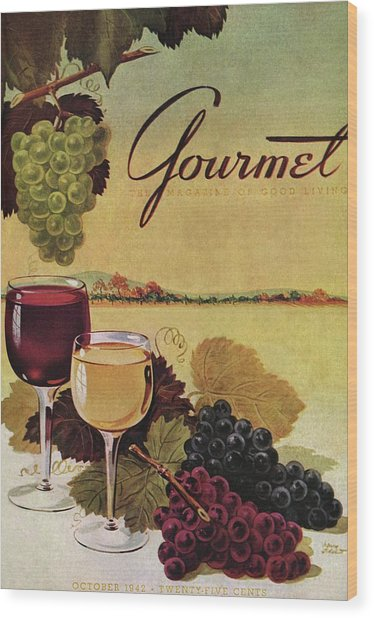 A Gourmet Cover Of Wine Wood Print