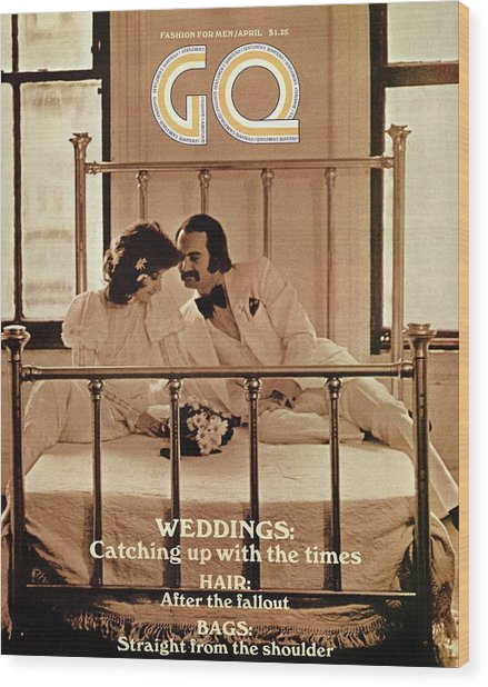 A Gq Cover Of A Bridal Couple Wood Print by Arthur Elgort